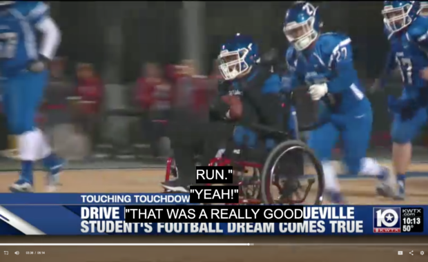 Teen with Cerebral Palsy Scores Touchdown